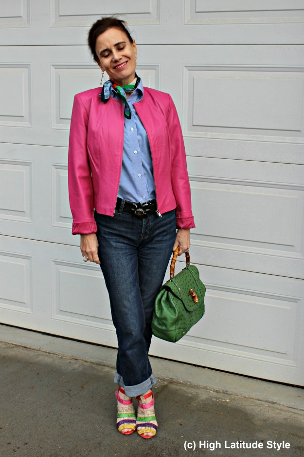 Casual outfit with jeans and biker jacket