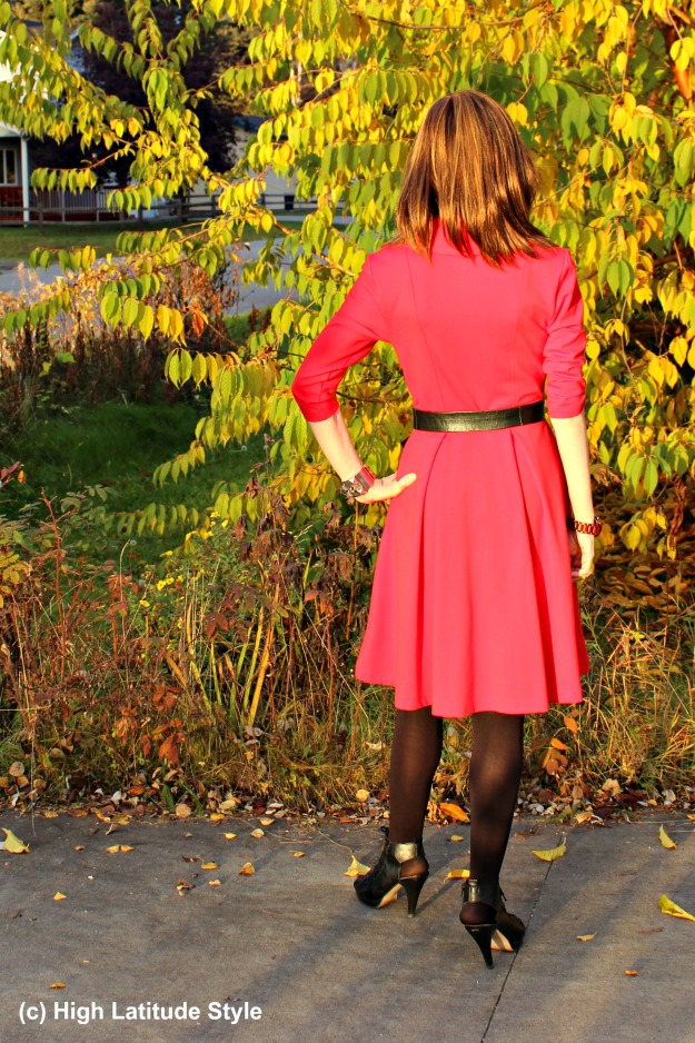 mature woman in fall work outfit