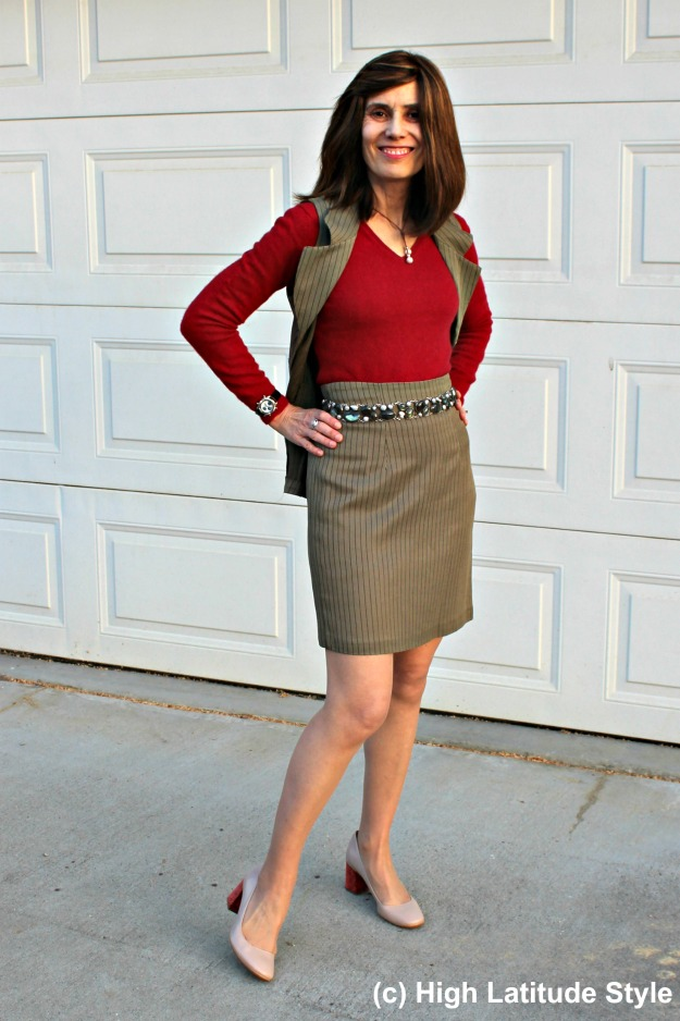 #fashionover40  mature woman in skirt and vest