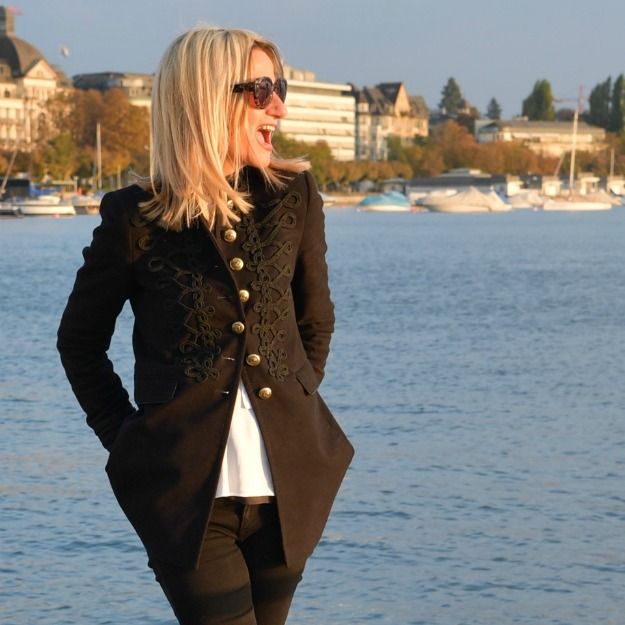 midlife woman in embroidery blazer