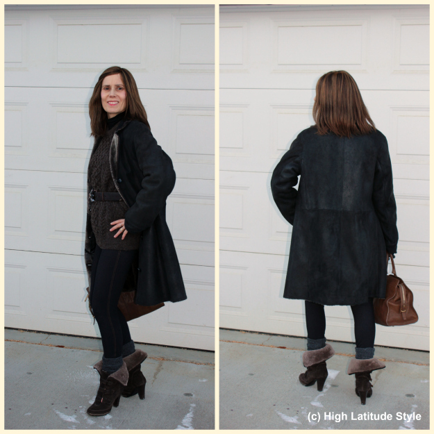 #fashionover50 posh casual winter OOTD with leggings and cable-knit sweater