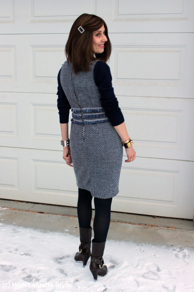 #midlifestyle woman in a Chanel-inspired tweed dress