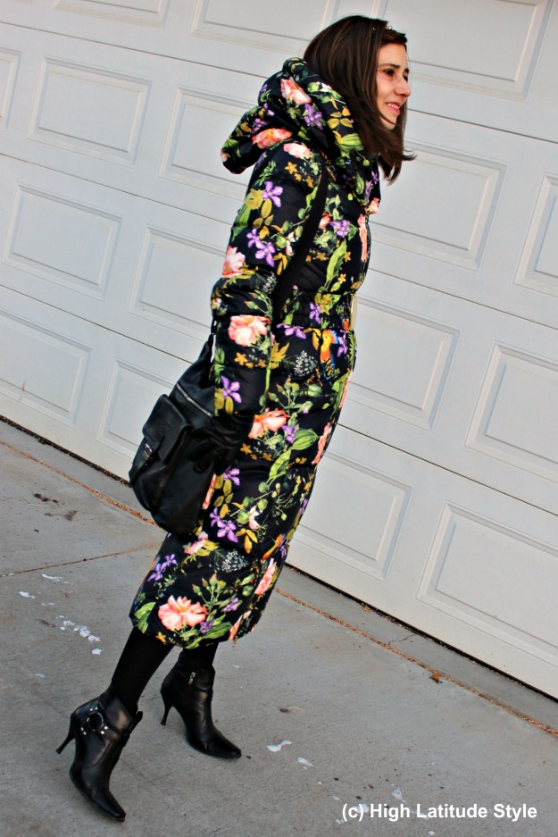 #fashionover40 woman in floral winter coat with hood