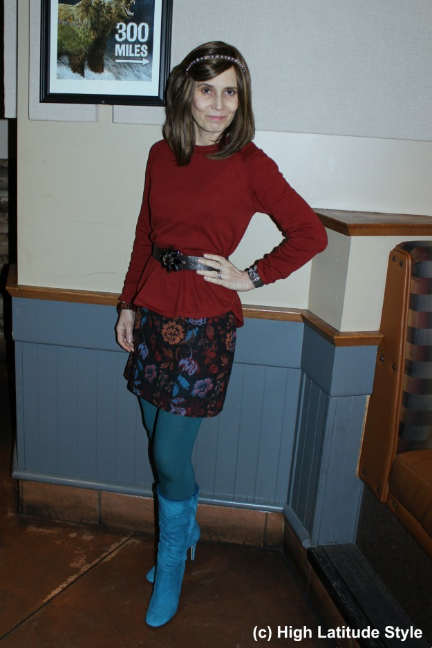 midlife woman looking chic in a mini skirt and tights