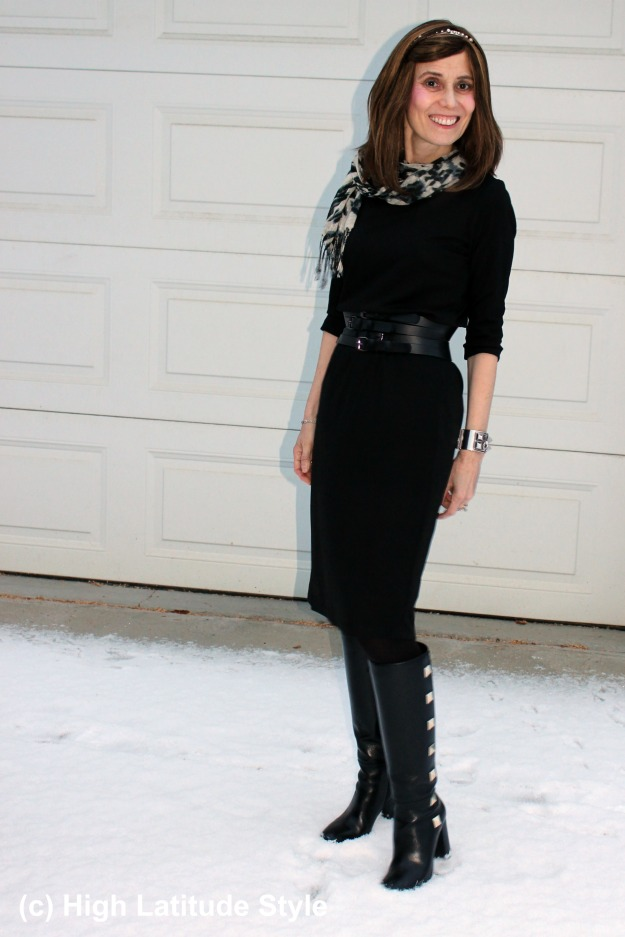 #fashionover50 LBD with tall statement studded boots