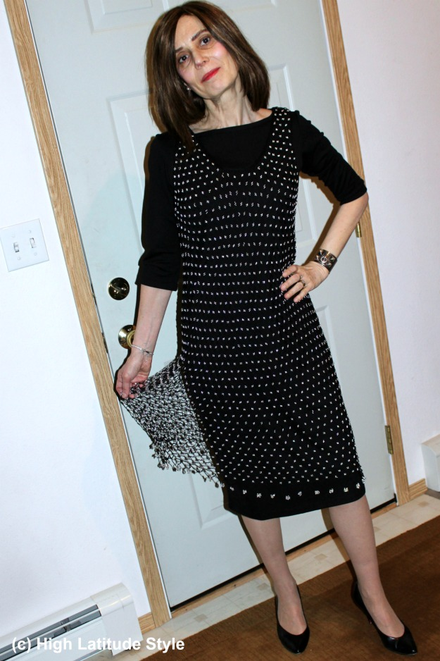CoveredPerfectly woman in New Year's Eve outfit