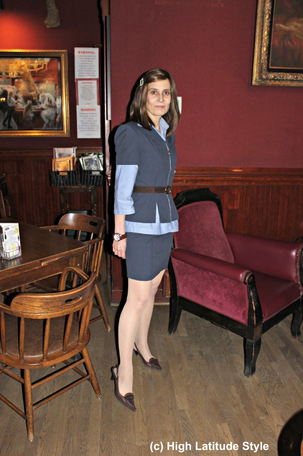 #maturefashion woman in skirt suit work outfit