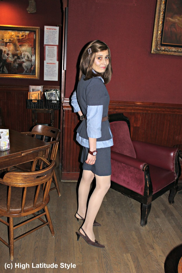 Alaskan stylist in glen check skirt suit