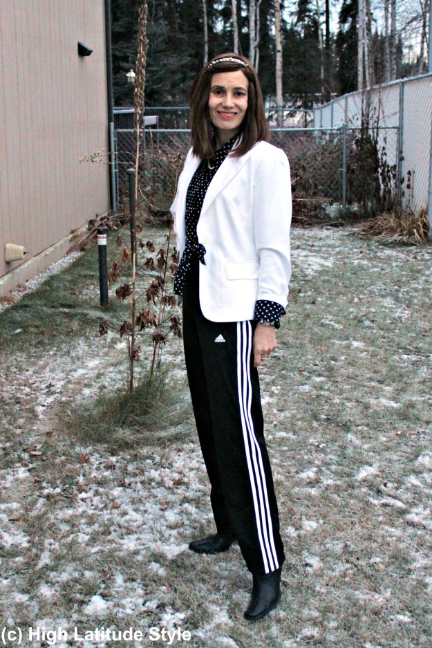 #fashionover40 woman in Adidas pants and blazer