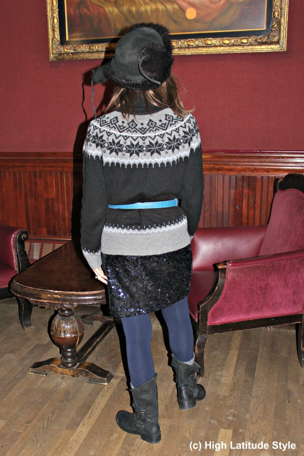 #maturestyle over 40 year old woman in posh eclectic winter outfit