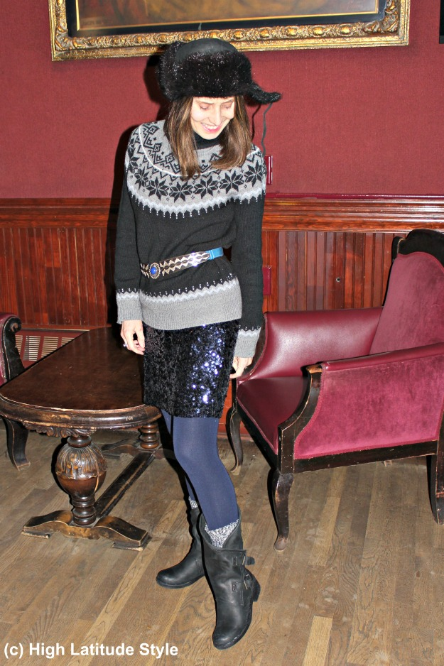 #styleover40 midlife woman in eclectic winter outfit with casual boots