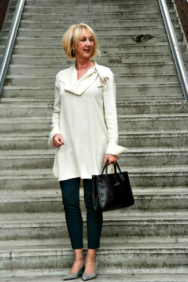 over 60 Greetje in dress-over-pants look