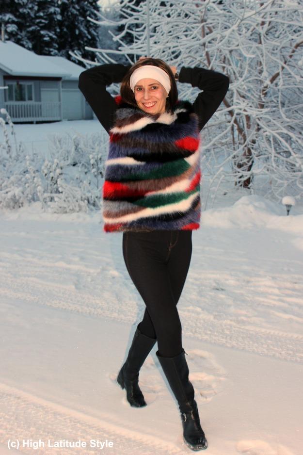 #fashionover40 woman in multi color faux fur sweater