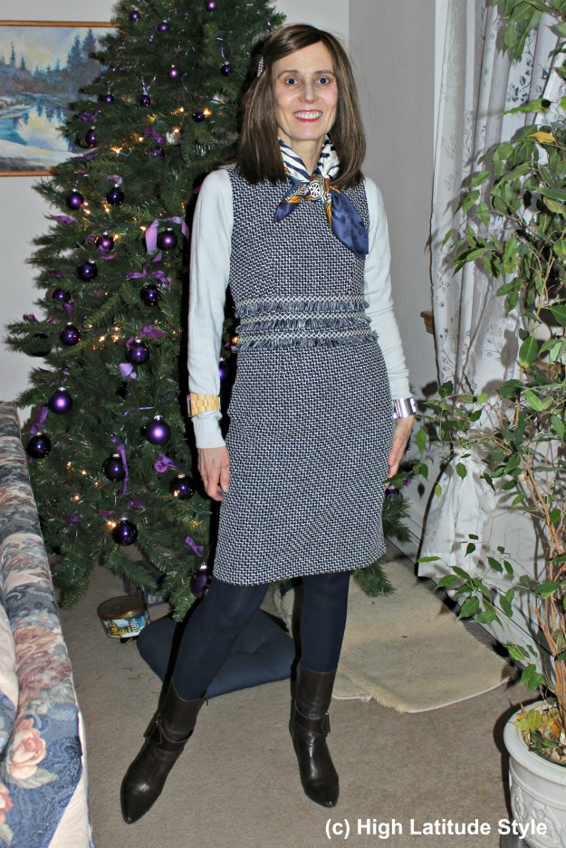 over 50 years old Alaskan fashion blogger in a sheath dress