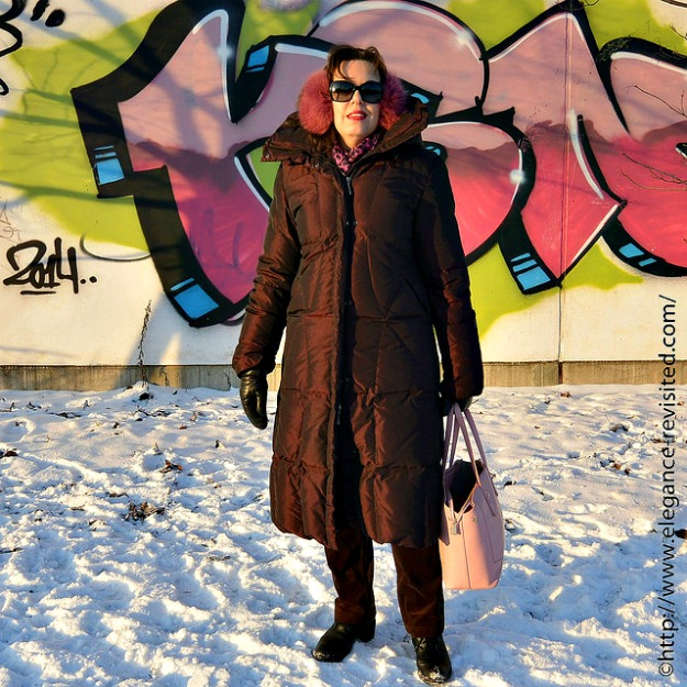 midlife Finish fashionista Tiina in a chic monochromatic winter look with a down puffer coat