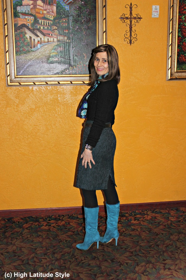 #fashionover50 woman in winter work outfit with tall footwear
