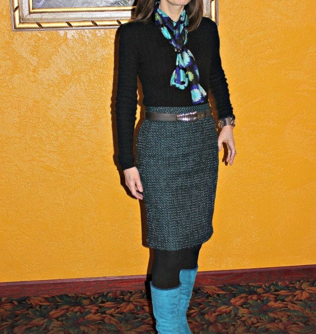 #styleover50 woman in winter office look with tweed skirt and sweater