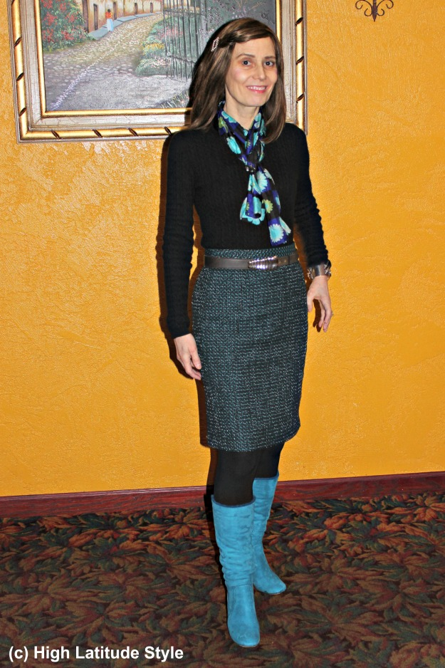 style blogger over 50 tweed skirt and sweater