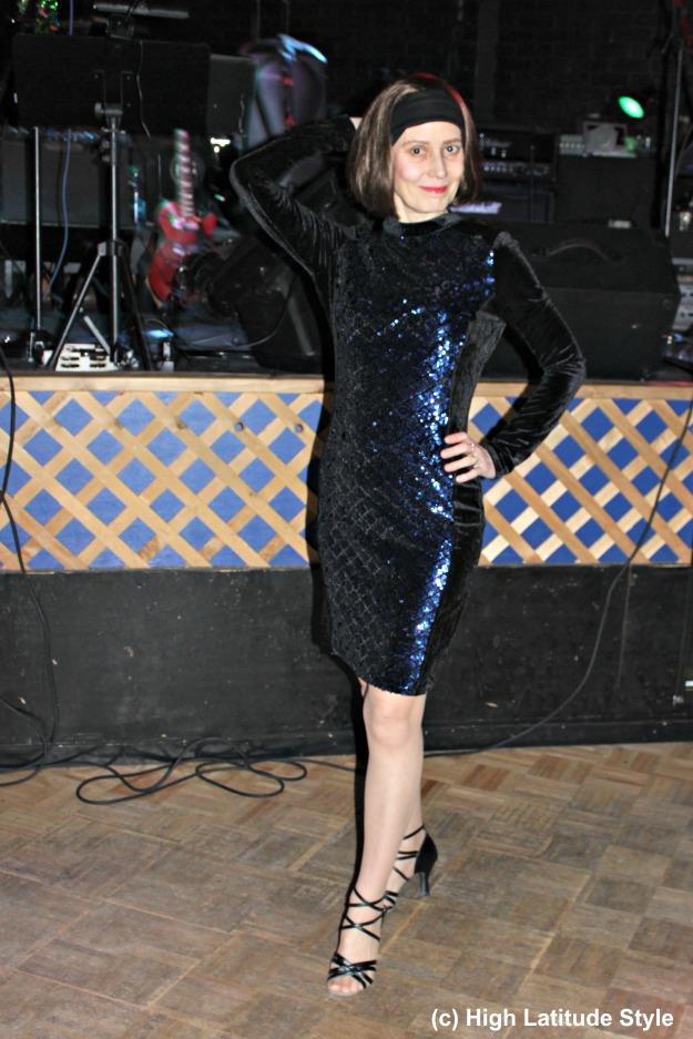 #fashionover40 mature woman in sequin velvet semi-formal dress