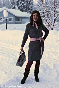 fashion over 40 woman in in ripped knit dress