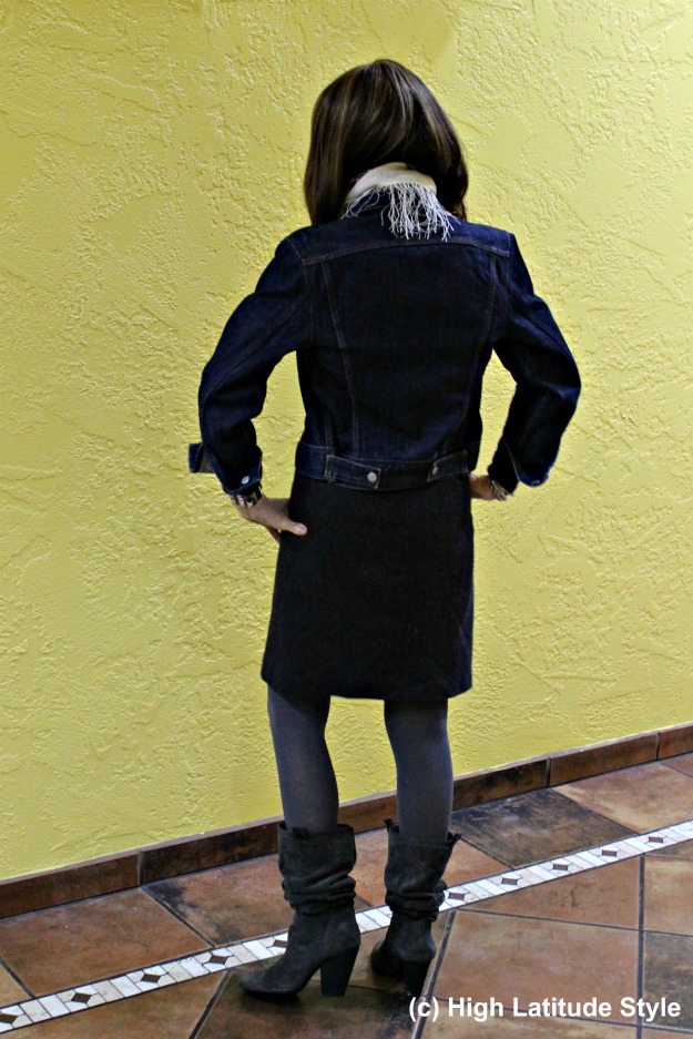 #fashionover40 woman in tweed skirt with denim jacket