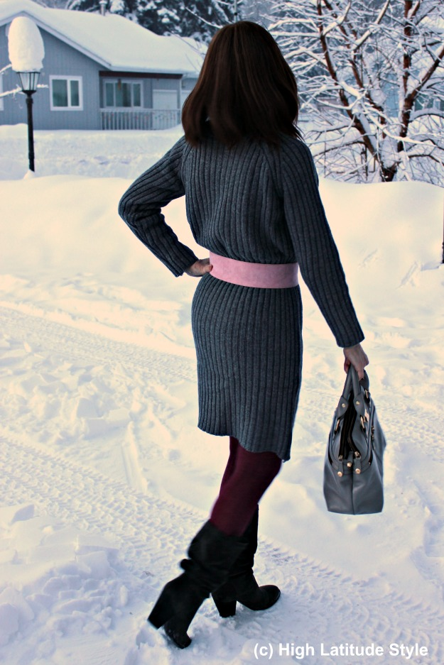 midlife style blogger in ribbed knit sweater dress styled for work