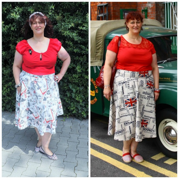 #fashionover40 woman in self-sewn flared skirts
