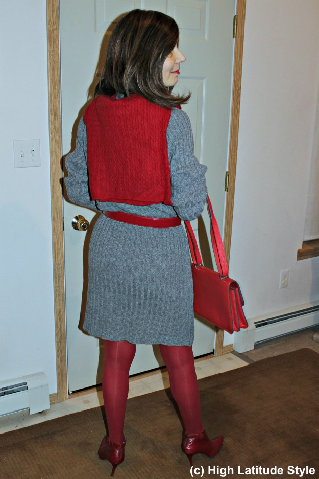 #Styleover40 lady in ripped knit sheath work outfit