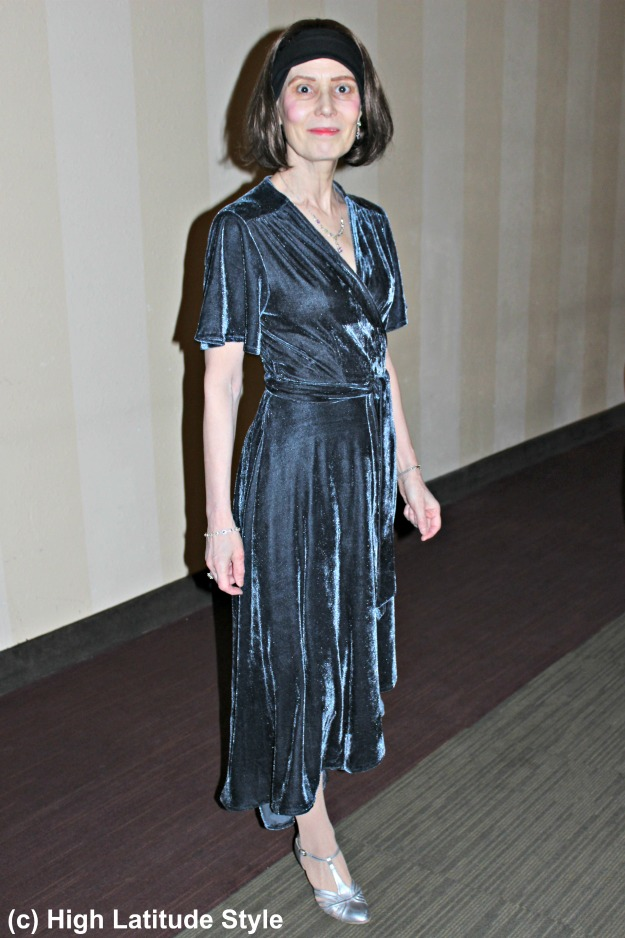 style over 50 mature woman in velvet wrap dress
