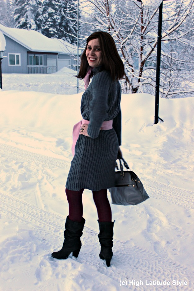 #fashionover50 woman in gray pink winter office outfit
