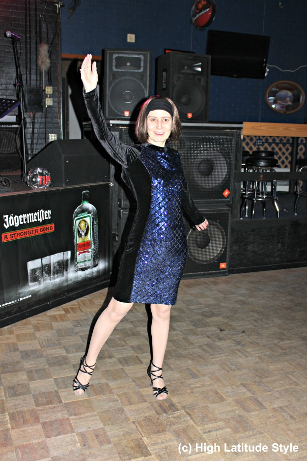 #styleover50 woman in royal blue and black sequin and velvet semi-formal dress