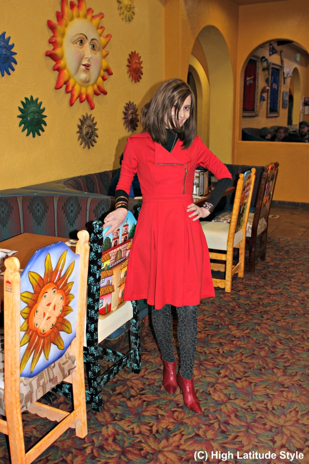 #fashionover40 Style blogger in a little red dress