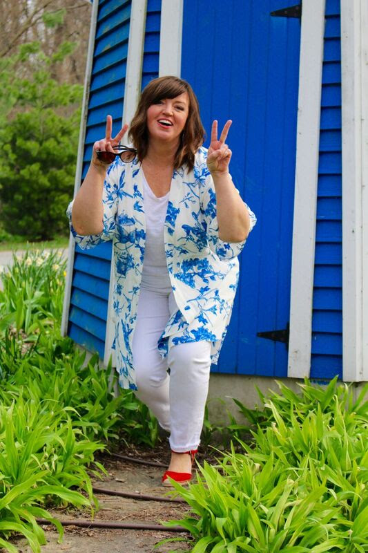 #fashionover40 woman in blue and white spring outfit