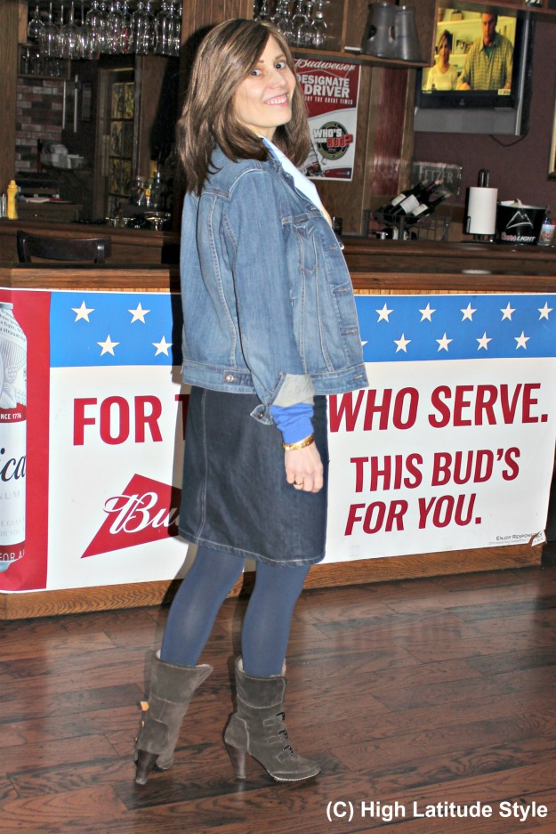 #fashionover40 woman in Casual Friday work outfit with double denim