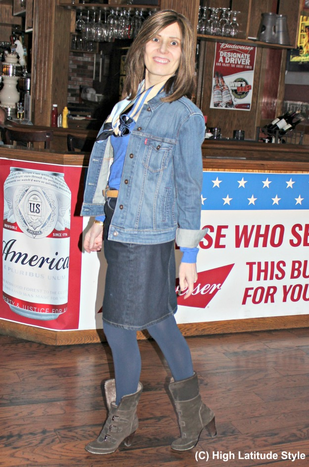 #fashionover50 woman wearing a casual denim on denim outfit