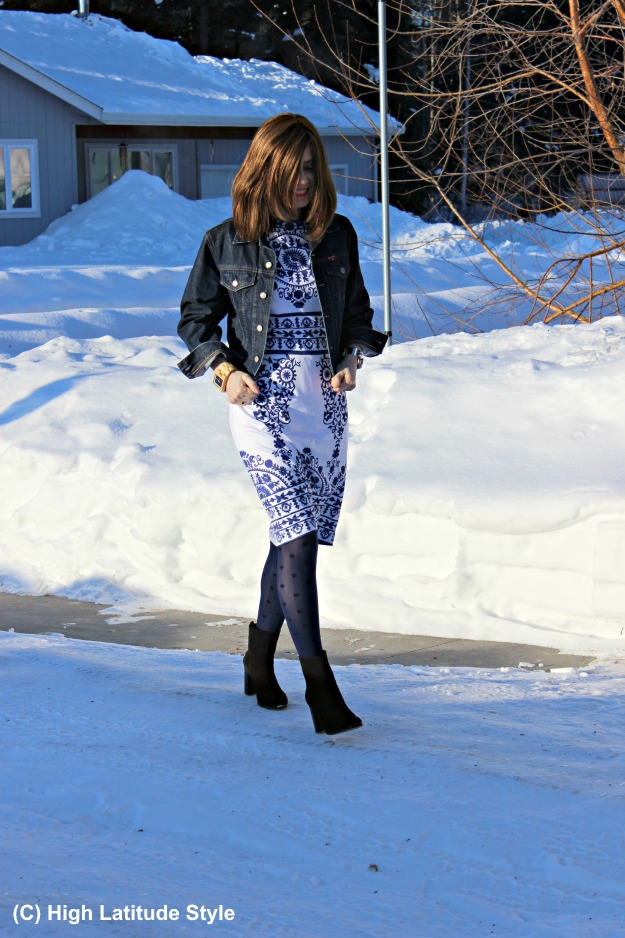 Kate Middleton style blue and white dress under a blue jacket