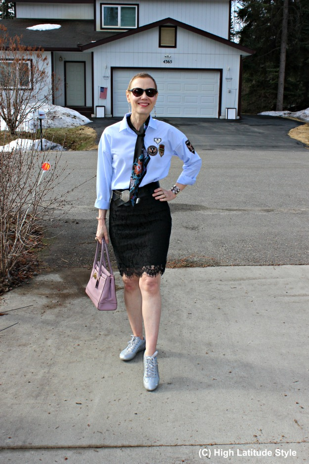#fashionover40 woman in patched shirt with lace skirt