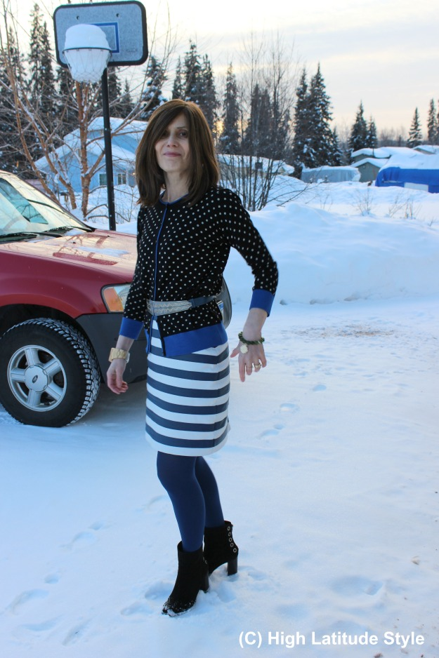 fashionover50 woman feeling cold in March in Fairbanks