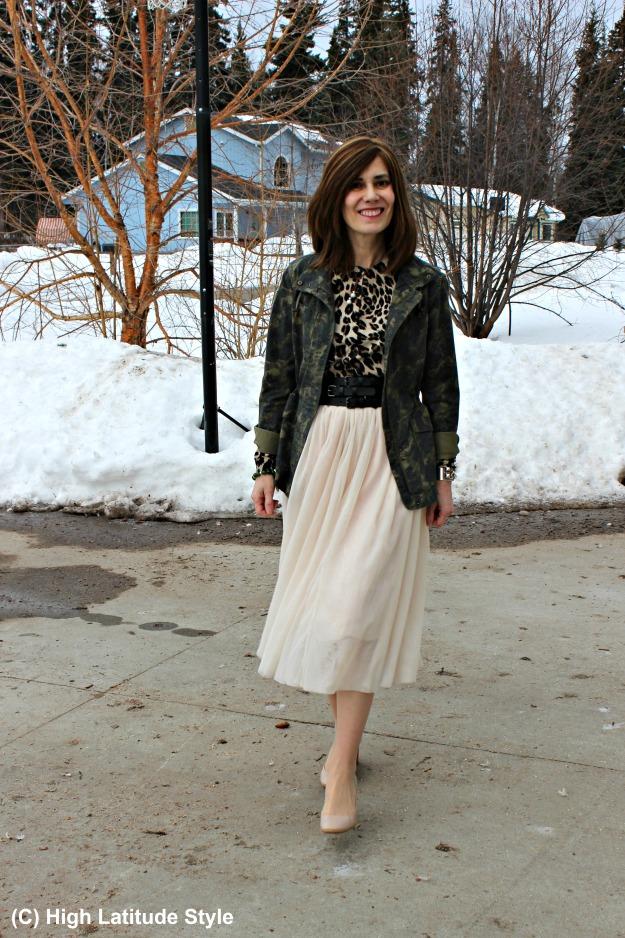 Alaska Street style mature woman in mesh skirt