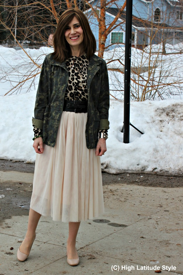 #fashionover40 style blogger in a net-skirt with leopard print cardigan, camo jacket and nude block heel pumps