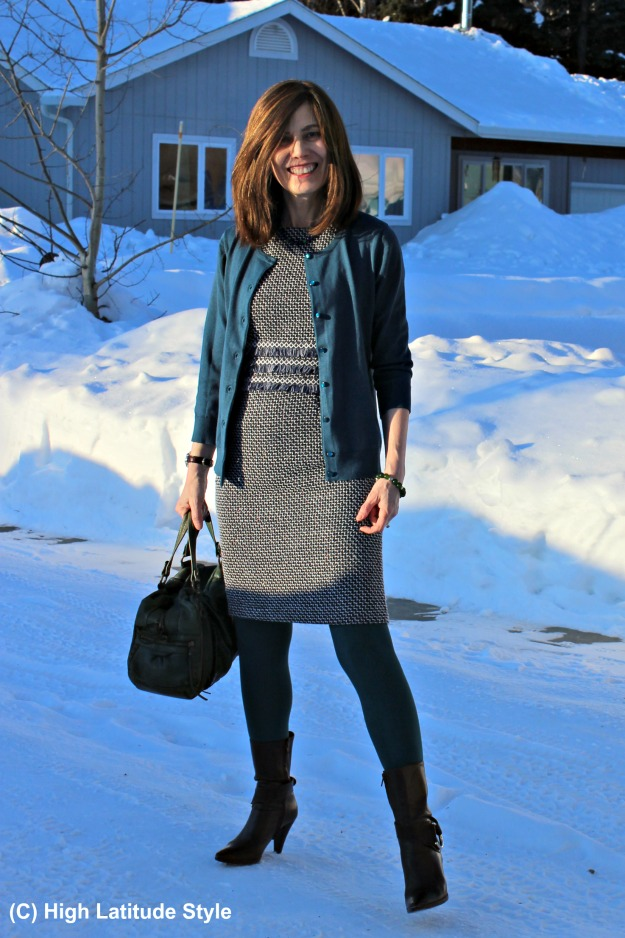 mature fashion blogger in work outfit with Shein sheath and cardigan