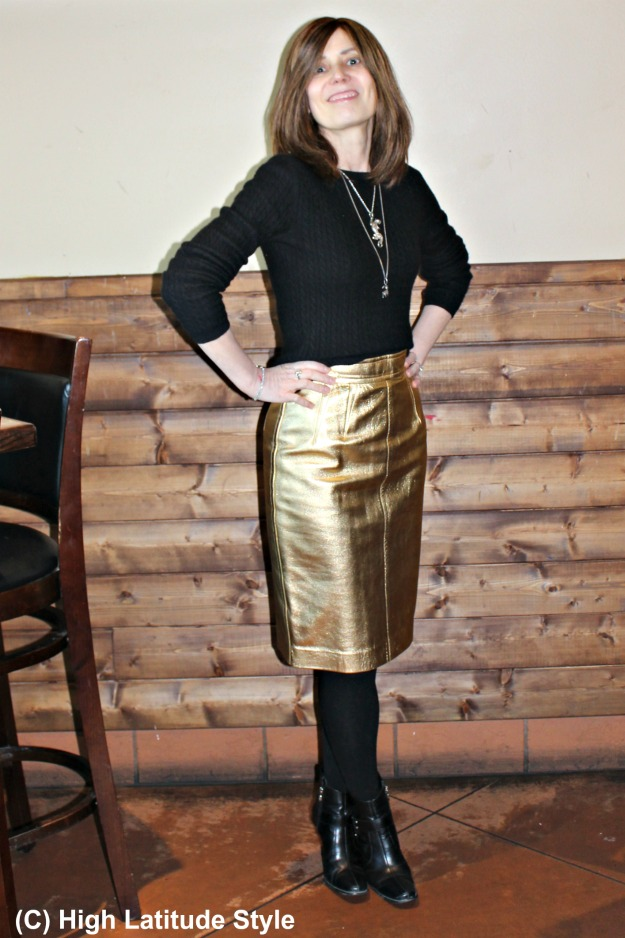 style over 40 woman in golden pencil skirt