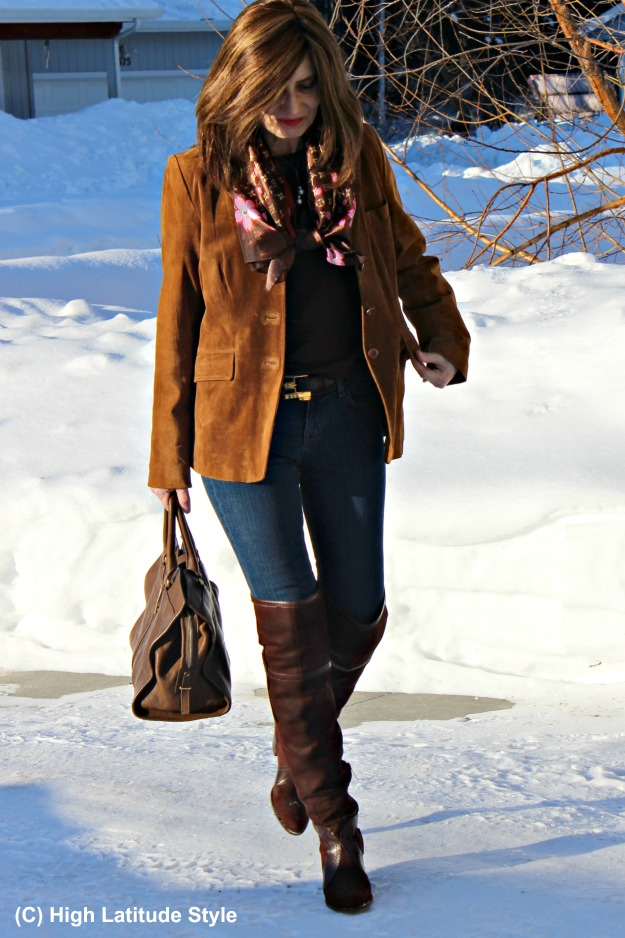 style over 40 woman in over the knee boots