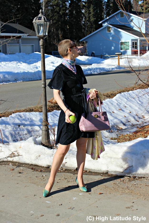 #styleover50 older woman in shortened asymmetric hemline dress