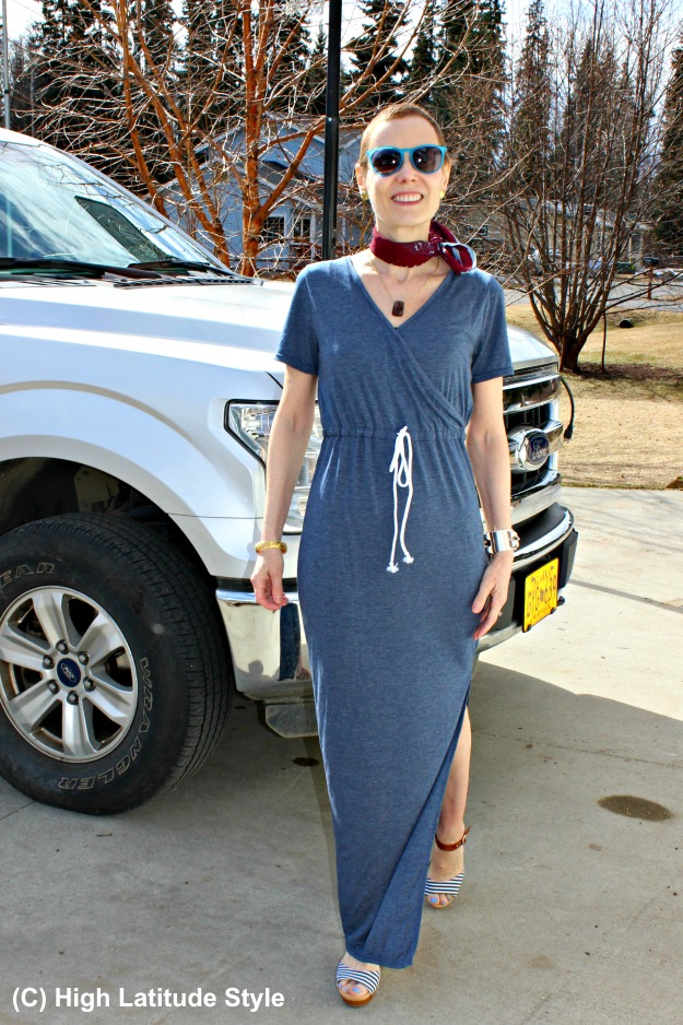 #fashionover40 woman in long casual dress