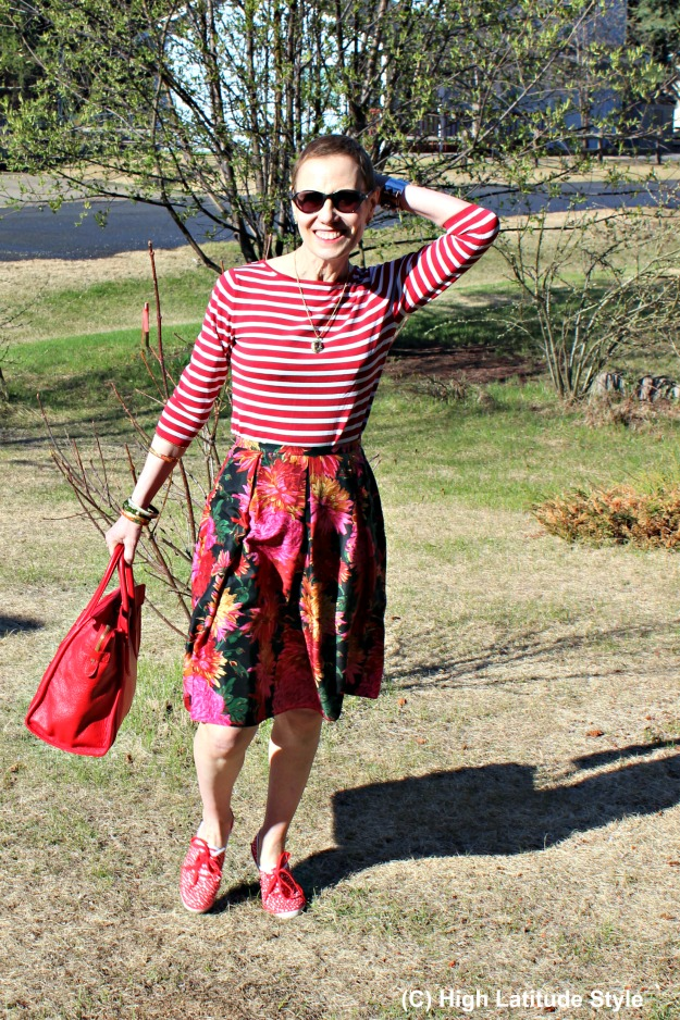 fashion over 50 woman in mixed prints