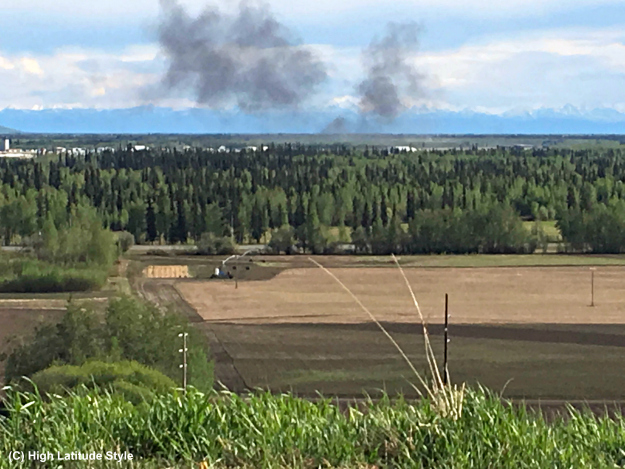 View over the Tanana Flats with a snoke cloud in the sky