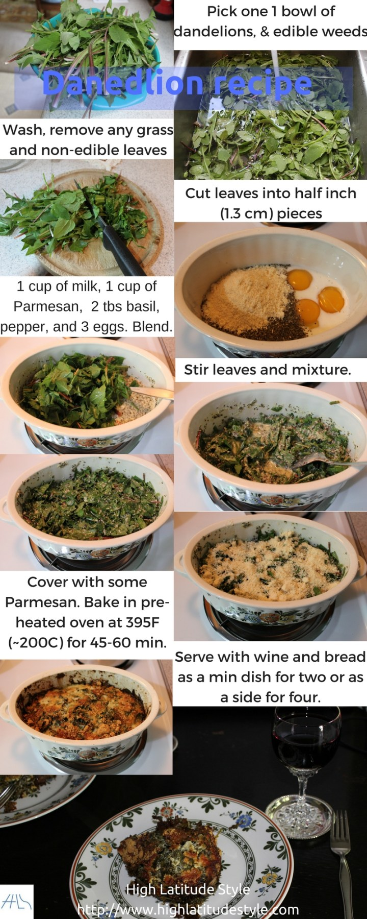 Alaska baked dandelion recipe