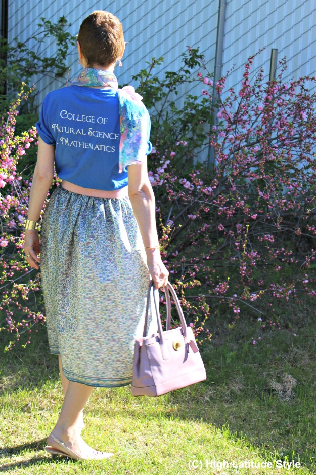 mature fashion blogger with DIY skirt sewn from an old sari