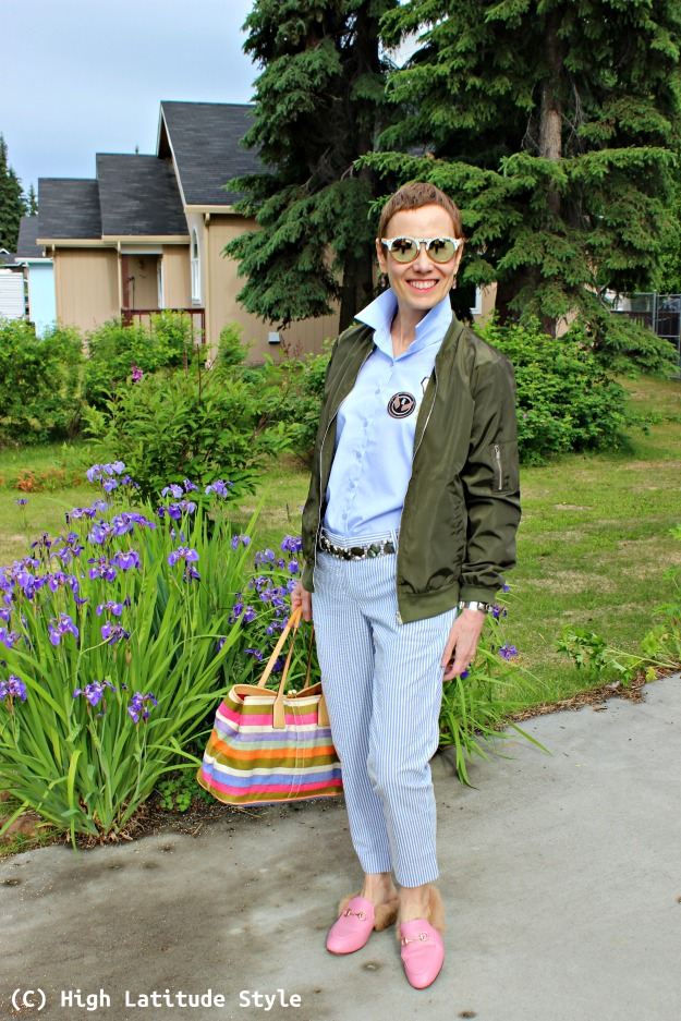 fashion blogger over 40 in casual look with pants